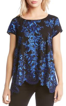 Karen Kane Embroidered Scalloped Hem Top