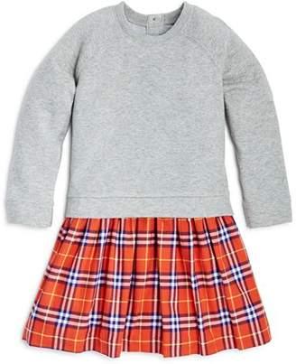 Burberry Girls' Francine Check Skirt Sweatshirt Dress - Little Kid, Big Kid