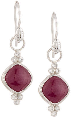 Jude Frances Provence 18K Double Trio Drop Earrings with Cushion Ruby