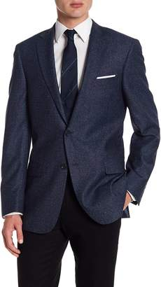 Hart Schaffner Marx Dark Blue Two Button Notch Lapel Wool Blend New York Fit Sport Coat