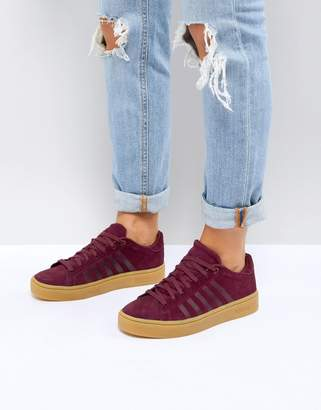 K-Swiss Court Frasco Sneakers In Burgundy With Gum Sole