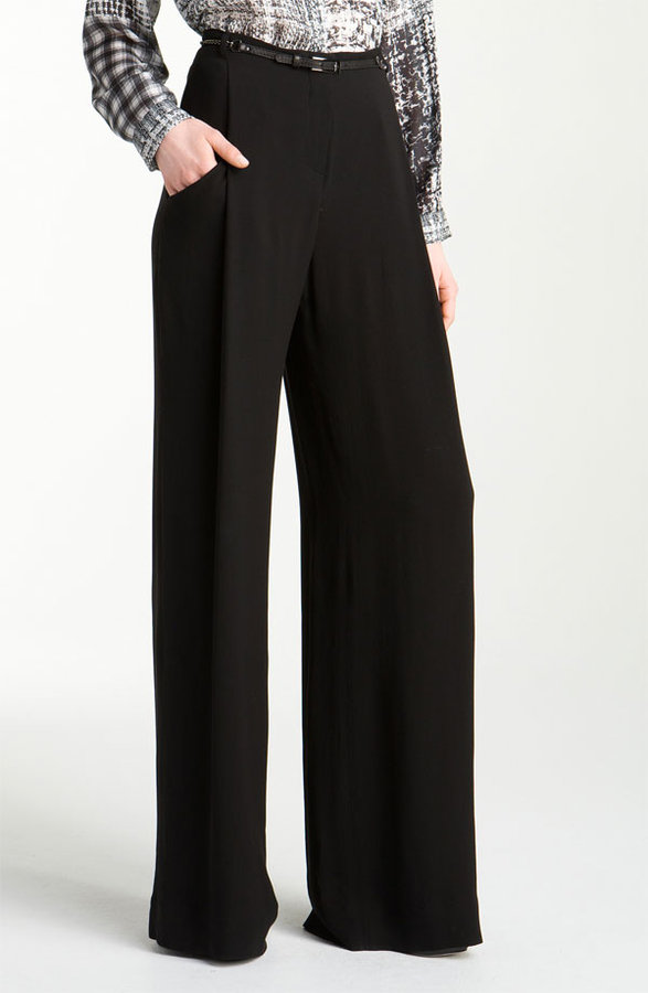 L'AGENCE 'Floor Sweeper' Belted Wide Leg Pants