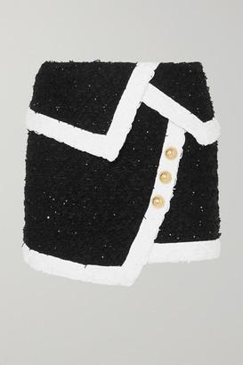 Balmain Wrap-effect Button-embellished Metallic Tweed Mini Skirt - Black