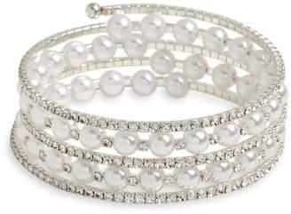 Cezanne Sterling Silver Faux Pearl Cuff Bracelet