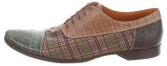 Etro Embossed Leather Plaid Oxfords