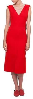 Akris V-Neck Sleeveless Wool-Silk Midi Dress