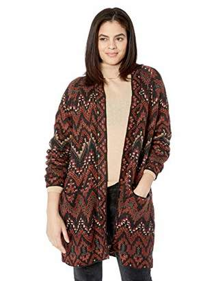 Lucky Brand Women's Plus Size Long Ikat Cardigan Sweater