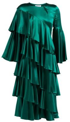 Osman Diaz Tiered Silk Blend Satin Dress - Womens - Green