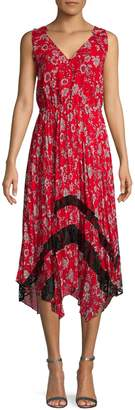 Nanette Lepore Nanette Sleeveless Floral Pleated Midi Dress