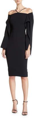 Roland Mouret Halter-Style Cascading-Sleeve Sheath Dress