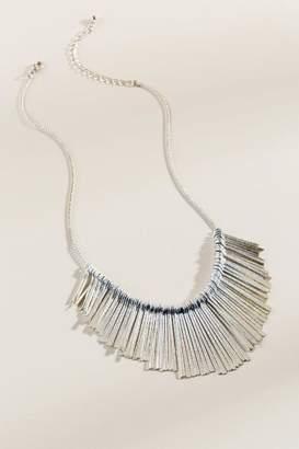 francesca's Mallory Fringe Sunburst Necklace - Silver