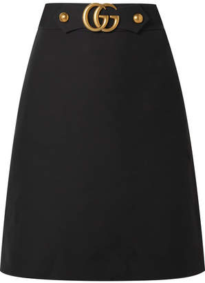 Gucci Embellished Wool And Silk-blend Skirt - Black