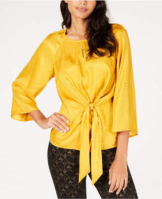 Alfani Jacquard Tie-Front Blouse, Created for Macy's