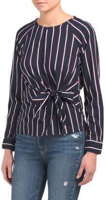 Juniors Knot Front Stripe Woven Top