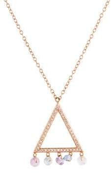 14K Multicolor Sapphire & Diamond Triangle Pendant Necklace