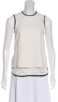 Elie Saab Lace-Accent Sleeveless Top