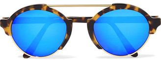 Illesteva - Milan Iii Round-frame Acetate And Gold-tone Mirrored Sunglasses - Tortoiseshell $300 thestylecure.com