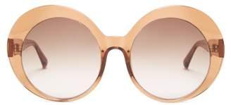 Linda Farrow Oversized Rounded Acetate Sunglasses - Womens - Brown Multi