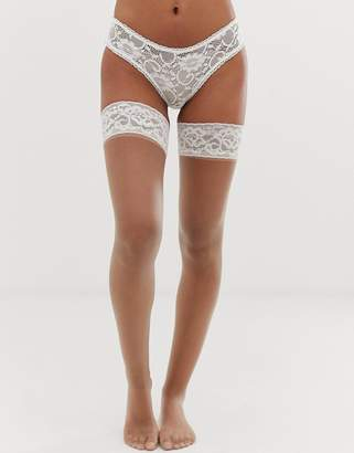 Pretty Polly bridal lace top hold up in beige