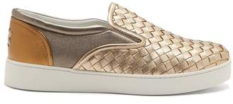 Bottega Veneta Dodger Metallic Leather Trainers - Womens - Gold