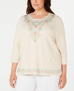 Alfred Dunner Plus Size Coastal Drive Embroidered Studded Top