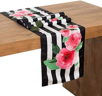 ee63c2bbc8b14 Ling s moment 12 x 72 Inch Floral Black and White Striped Table Runner for Wedding  Party