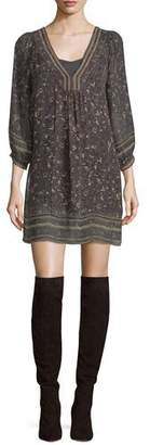 Joie Abba Floral-Print 3/4-Sleeve Shift Dress $398 thestylecure.com