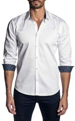Jared Lang Floral Cuff Solid Sport Shirt