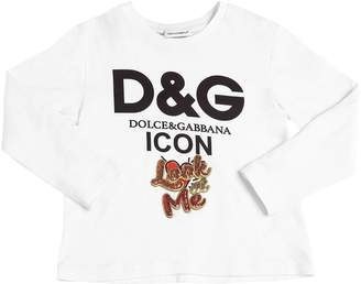 Dolce & Gabbana Logo Cotton Jersey Long Sleeve T-Shirt