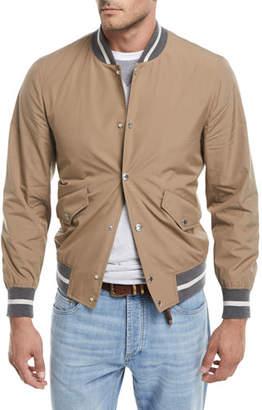 Brunello Cucinelli Contrast-Trim Cotton Bomber Jacket