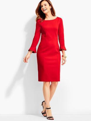 Flounced-Sleeve Ponte Sheath Dress $129 thestylecure.com