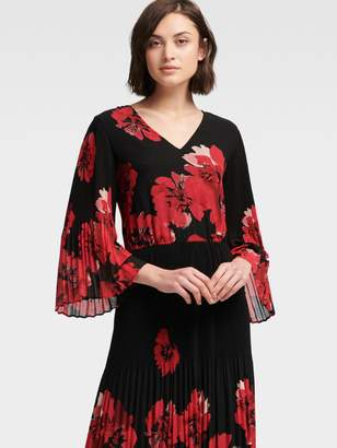 DKNY Floral Pleated Midi Dress