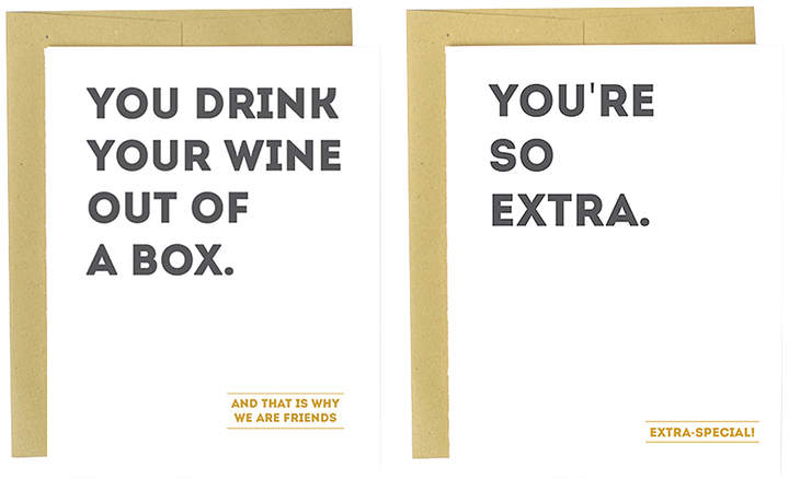 'Wine Out of a Box' & 'So Extra' Greeting Card Set