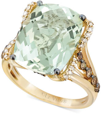 LeVian Le Vian Prasiolite (9-3/4 ct. t.w.), White Diamond (1/8 ct. t.w.) and Chocolate Diamond (3/8 ct. t.w.) Ring in 14k Gold, Created for Macy's