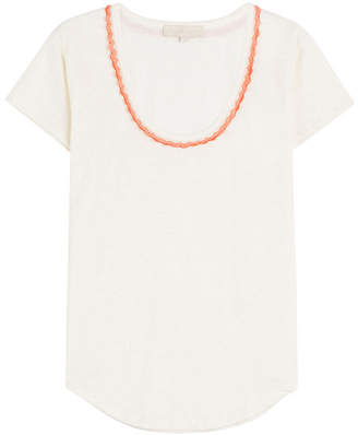 Vanessa Bruno Linen T-Shirt with Crochet Trim