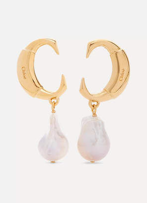Chloé Gold-tone Pearl Earrings