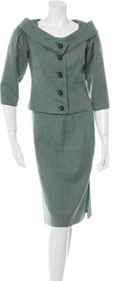 Carolina Herrera Tweed Virgin Wool Skirt Suit $225 thestylecure.com