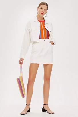 Topshop White Denim Mini Skirt