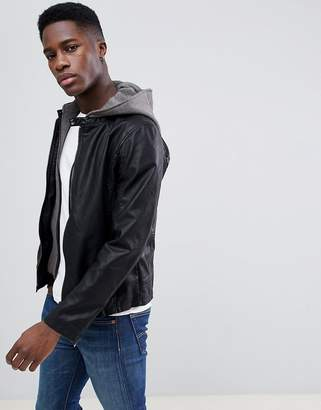 Esprit Faux Leather Jacket With Removable Jersey Hood