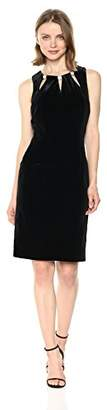Nine West Women's Velvet Dress with Cut Outs on Neckline