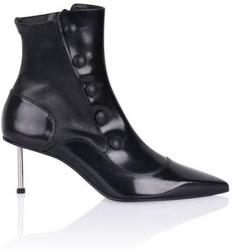 Alexander McQueen Leather Button-Detail Ankle Boot