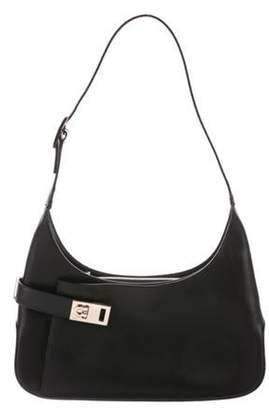 Salvatore Ferragamo Leather Gancio Hobo Black Leather Gancio Hobo