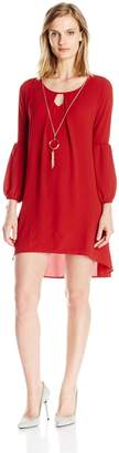 NY Collection Women's Petite Size Solid Long Sleeve Key Hole Hi Low Hem Dress with Necklace, PM