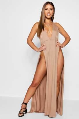 boohoo Petite Ella Strappy Thigh Slit Jersey Maxi Dress