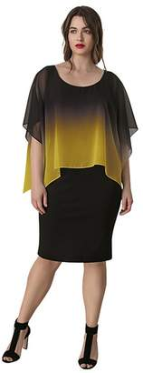 Live Unlimited Black Dress With Yellow Ombre Cape