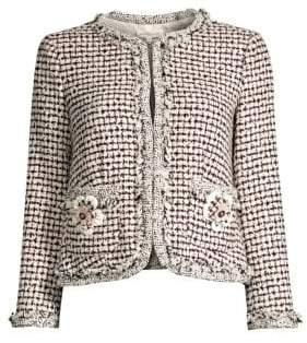Rebecca Taylor Women's Houndstooth Tweed Jacket - Black Pink Combo - Size 0