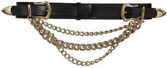 Veronica Beard 40mm Chain Embellished Leather Belt