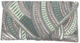 Ricki Designs Beaded Sequin Pink / Sage Envelope Clutch