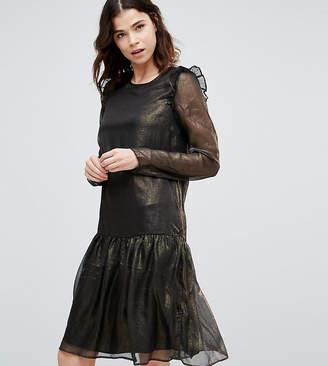 Y.A.S Tall Metallic Drop Hem Skater Dress With Frill Shoulder