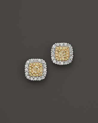 Bloomingdale's Yellow and White Diamond Stud Earrings in 18K White and Yellow Gold - 100% Exclusive